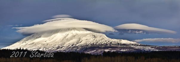 Lenticular clouds over Mount Adams