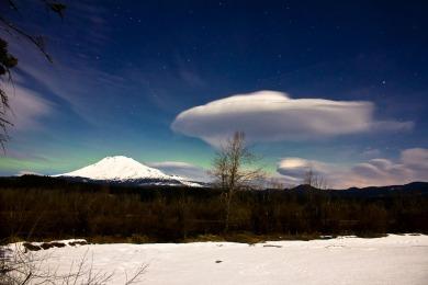 Aurora behind Moonlit Lenticular and Mount Adams