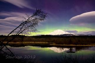 Aurora over a Moonlit Mount Adams and Lenticular