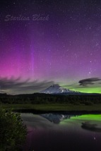 Northern Light Bliss over Mount Adams, reflected in Trout Lake, Washington