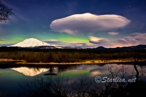 After Midnight Aurora March 9, 2012 over Mount Adams
