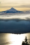 Mount Hood over Cloud shrouded Hood River