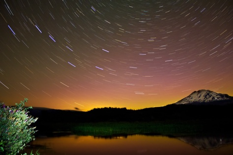 StarTrails over Trout Lake with Aurora Glow