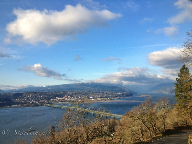 View over Hood River Bridge and down the Columbia River Gorge Feb 11, 2013