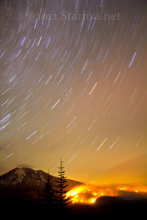 Cascade Creek Fire with Star trails