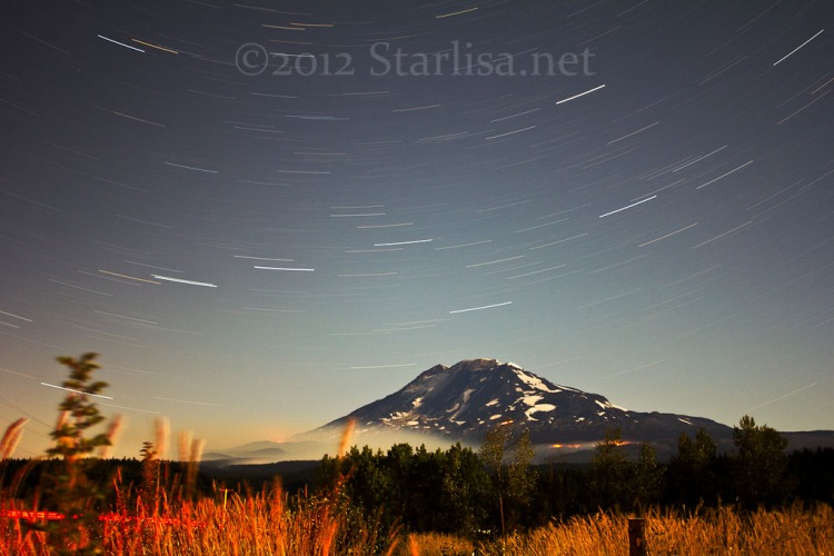 Cascade Creek Fire 2012 with 20 minute star trails