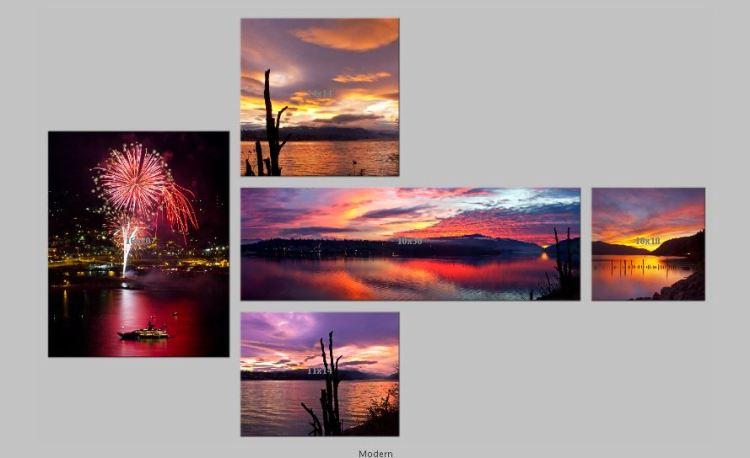 Modern Triptych Fireworks