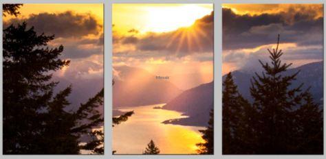Portrait Triptych Split Golden Gorge Rays