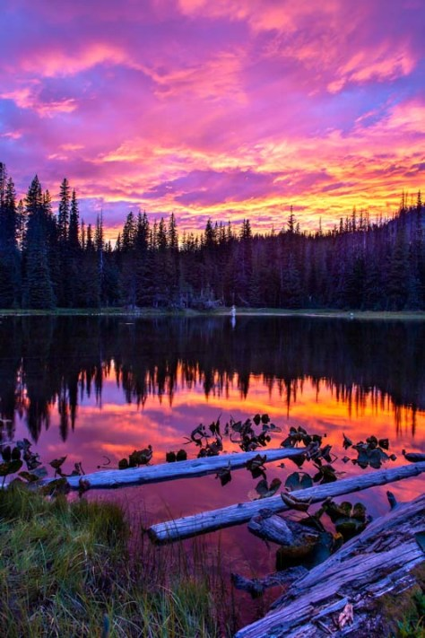 Glorious sunset at Mirror Lake near Mount Adams in August 2013 This sunset image is available for purchase in my Smug Mug gallery which can be reached by clicking on the image.