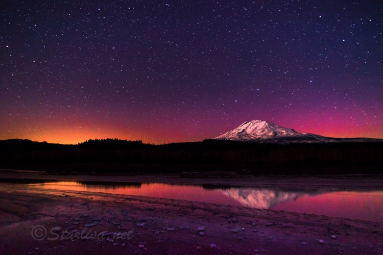 Hint of Aurora Glow over Mount Adams and the half frozen lake