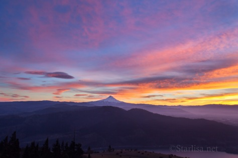 Mount Hood with lenticular cloud nearby to the East, and color everywhere.   CLICK ON PHOTO to see this one in the Photo Galleries