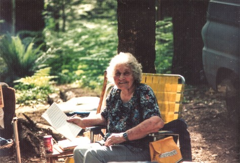 Mother enjoying her favorite campground where we spent every summer deep in the mountains on the Lewis River ~ Nina Black, born May 18, 1913; died November 7, 2003