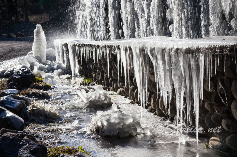 Weeping Wall drips with ice at Bonneville Hotsprings resort on February 5, 2014