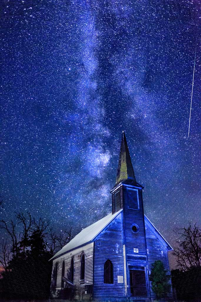 Perseid Meteor and Milky Way over a very ghostly Locust Grove Church near Wasco,