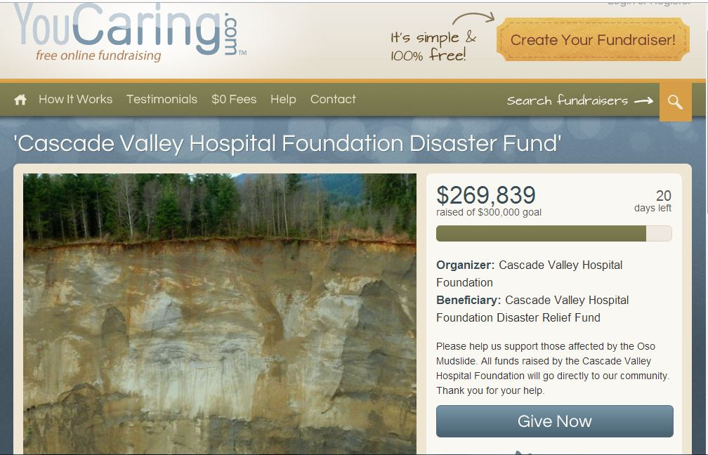 youcaring.com website link for the Cascade Valley Hospital Foundation emergency fund for Oso, Washington