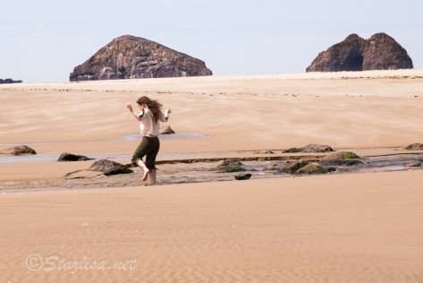 """Dancing Fairy Child""  Leannan Sidhe dancing on the beach  at Oceanside, Oregon"