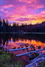 Fired UP Sunset, Mirror Lake near Mount Adams