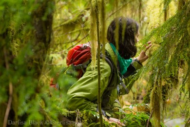 This image is in the People in Nature category in the Photo of the Year contest. Hiker on the Pacific Crest Trail studies Lichens