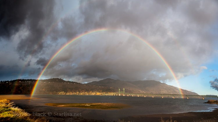 Double Rainbow, Taken from Hood River Oregon, looking over the Hood River Bridge into White Salmon and Bingen, Washington on November 9, 2014