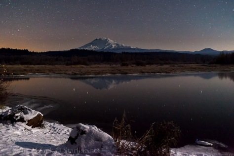 Mount Adams on a frozen night from Trout Lake, Washington.