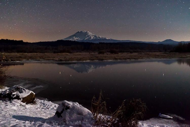 Mount Adams on a frozen night from Trout Lake, Washington.