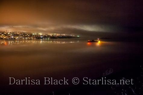 Fog and Hood River Lights over Columbia River
