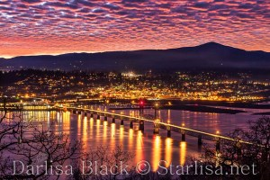 Mackerel Sky Sunset over the Columbia River Gorge and the Hood River Bridge