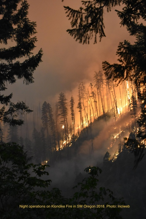 Photo of Klondike Fire in southern Oregon. Clicking on the photo will take you to the Inciweb site, A great resource for large fire information.