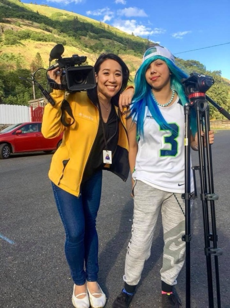 Erica Kuneki gets interviewed by Christine Pitawanich/KGW Channel 8 News
