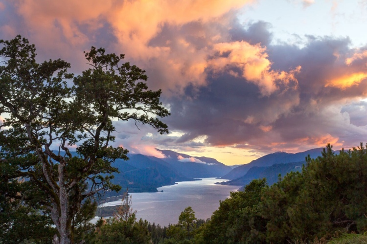 "Clouds can dim the light of life, But in return they can be the source of great enlightenment. "" ~Darlisa Black. Photo of Columbia River Gorge Sunset, from White Salmon, Washington"